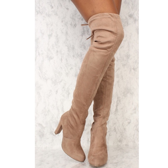 Shoes | Taupe Faux Suede Thigh High